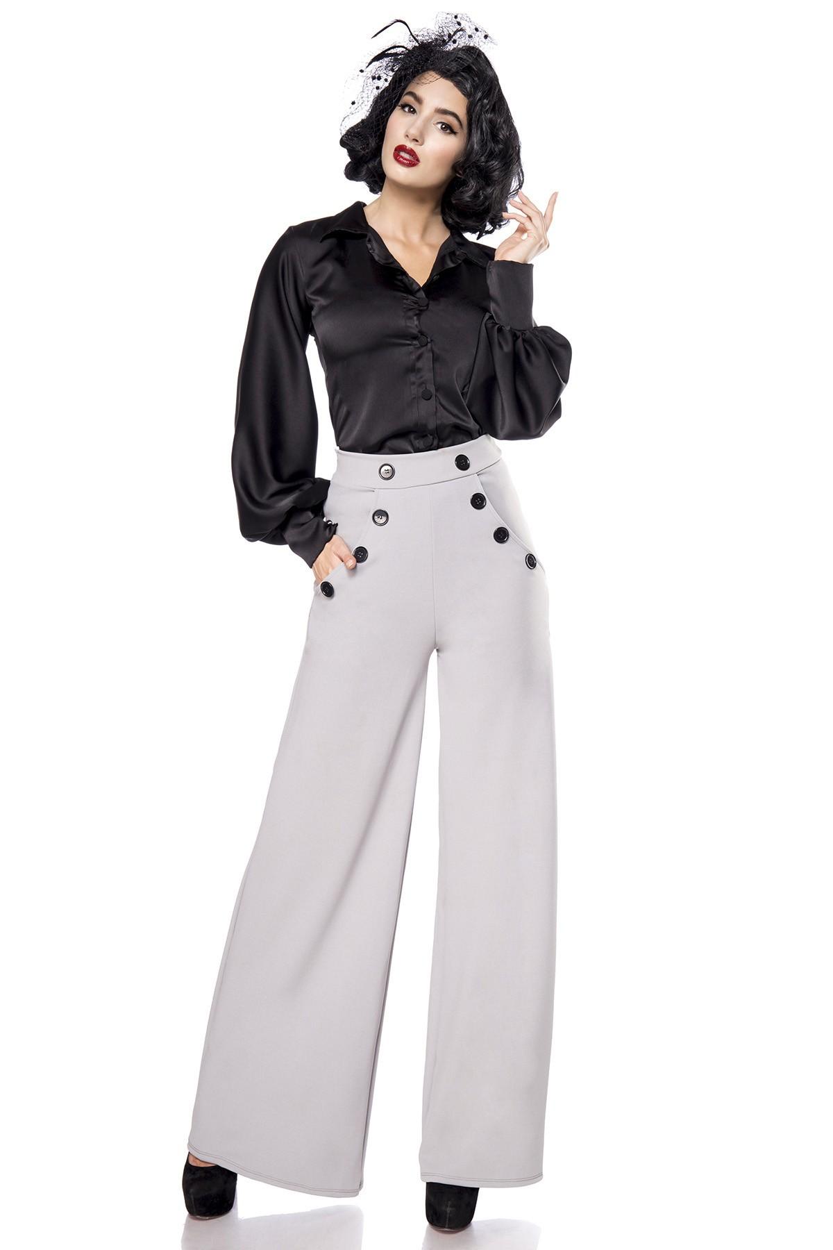 f5007593ee16 Široké šedé nohavice inšpirované Marlene Dietrich - SELECTAFASHION.COM