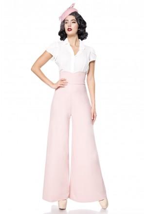 Široké ružové Marlene nohavice s vysokým pásom