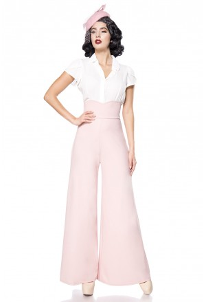Wide pink Marlene retro high waist pants