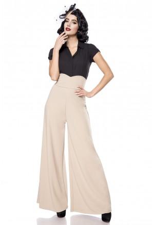 Široké béžové Marlene nohavice s vysokým pásom