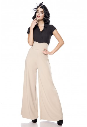 Wide beige Marlene retro high waist pants