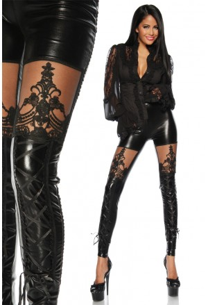 Black wet look lacing mesh goth leggings