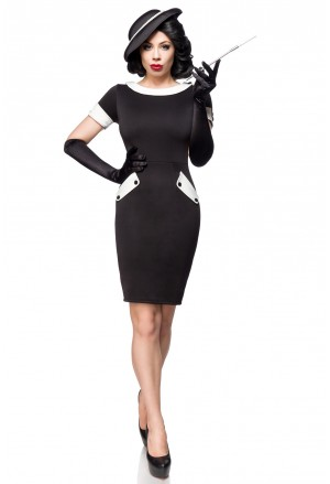 Elegant retro black vintage pencil dress