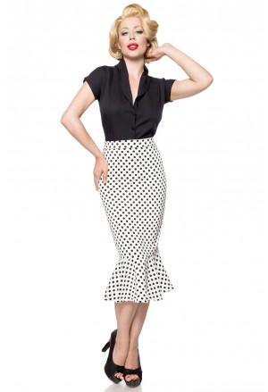 Retro sukňa s volánom a la Marilyn - biela s bodkami