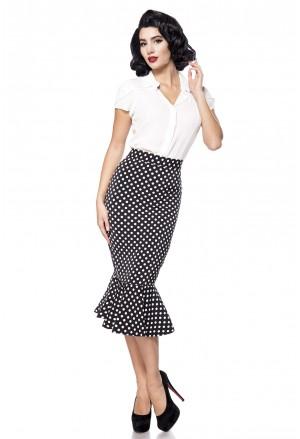 Retro sukňa s volánom a la Marilyn - čierna s bodkami