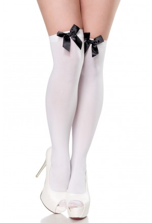 White stockings with black satin bow