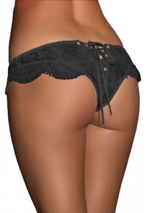 Black Ribbon Lace Up Lace Thong