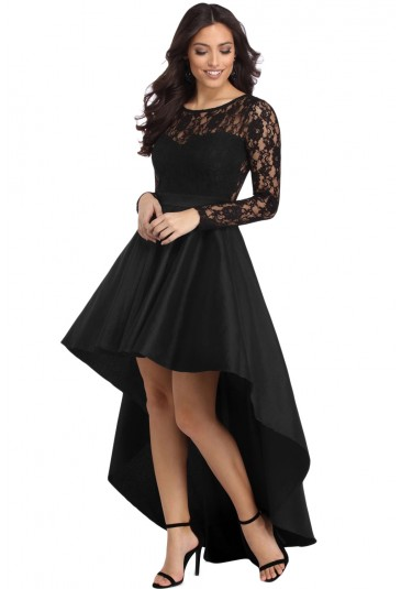 Black Long Sleeve Lace High Low Satin Prom Dress