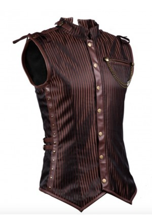 Mens Steampunk Faux Brown Overchest Waistcoat Corset