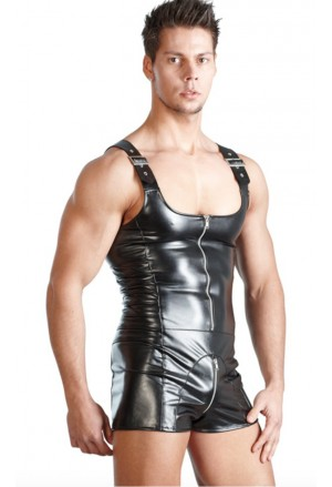 Sexy Men Lingerie Wetlook Clubwear Jumpsuit with Straps