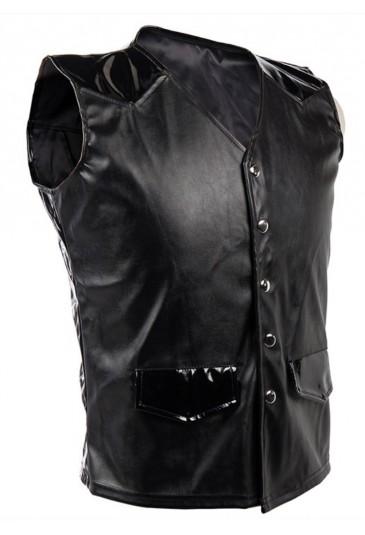Mens Steampunk Gothic Faux Leather Corset Vest