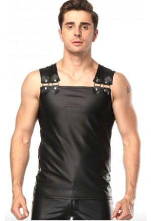 Mens Black Sleeveless Faux Leather Undershirt Vest