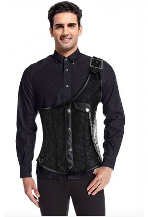 Mens Gothic Brown Brocade One-shoulder Waistcoat Corset