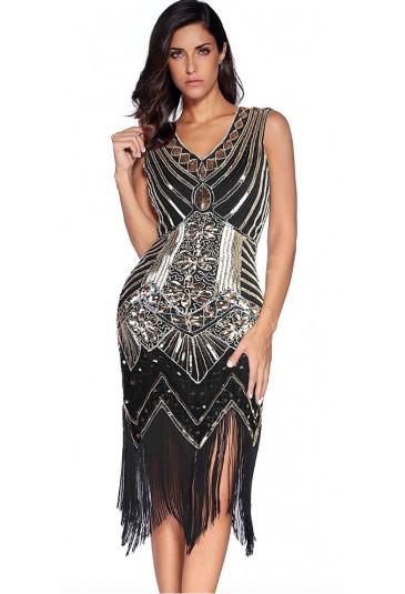 Art deco čierne spoločenské šaty a lá Veľký Gatsby