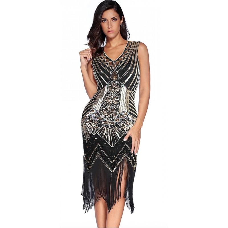 6e67bba04458 Art deco čierne spoločenské šaty a lá Veľký Gatsby