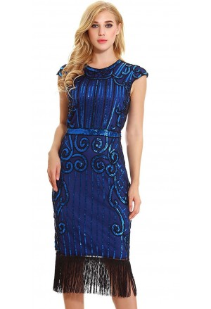 Women's Vintage 1920s Style Blue Cap Sleeve Sequin Fringe Flapper Dress