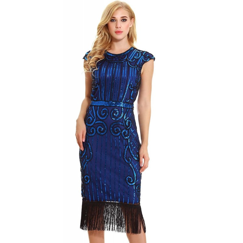 Vintage 1920s Style Blue Cap Sleeve Sequin Fringe Flapper Dress ...