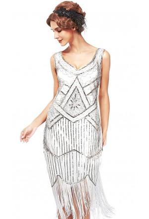 Krásne bielo strieborné art deco spoločenské šaty vo vintage štýle
