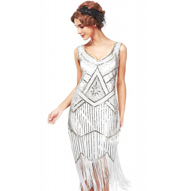1920s Vintage Sleeveless V Neck Sequin Art Deco Dress