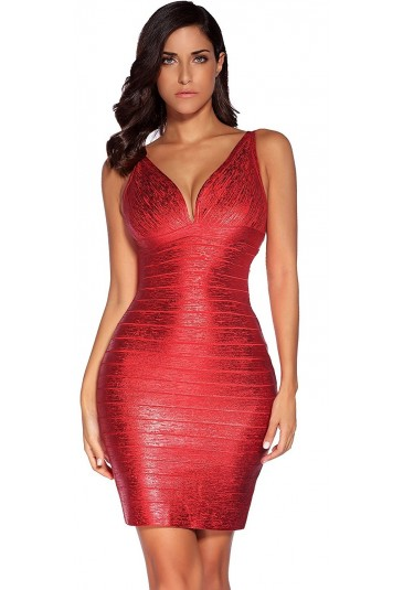 Exclusive red foil bandage dress MILA