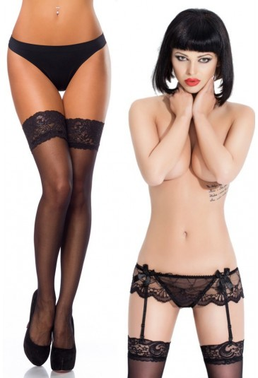 Women sexi lingerie set - black lace tight high stocking with lace garter