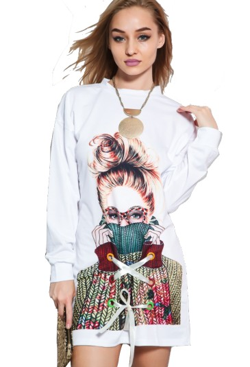 Graphic print long sleeve hoodie casual dress