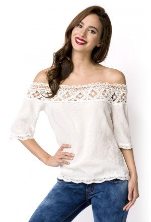 Delicate white off shoulder crochet tunic boho