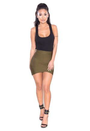 Short mini bandage skirt in olive