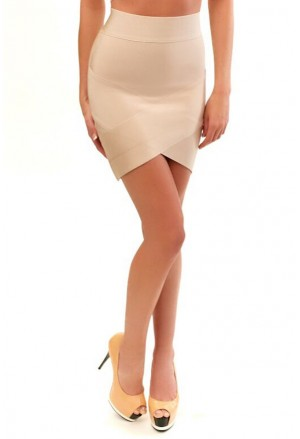 Short mini bandage skirt in nude