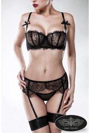 Luxury 3-piece black lace lingerie set GREY VELVET