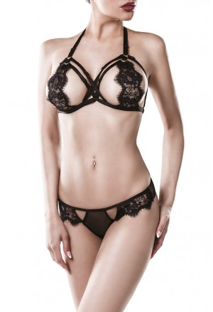 Seductive suspender bra with panties set GREY VELVET