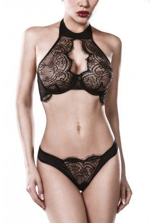 Premium black lace lingerie set halter bra and panty GREY VELVET