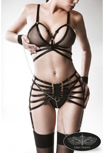 Premium black lace lingerie set halter bra and panty GREY VELVET