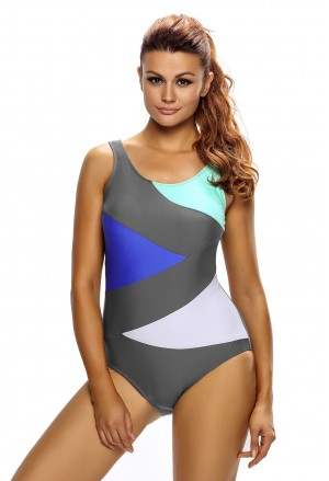 Sexy Color Block Lace up One Piece Swimsuit