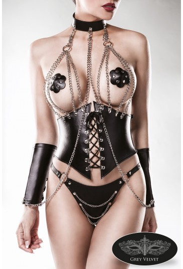 Premium irresistible black wetlook underbust corset chains lingerie set GREY VELVET