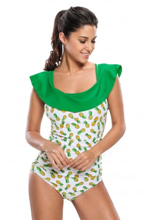 Romantic one-piece retro carmen swimsuit
