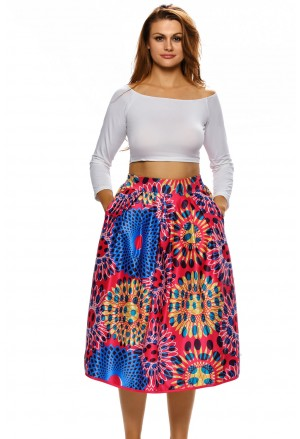Vintage High Waist Floral A-lined Midi Skirt