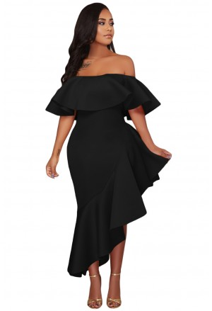Black Asymmetric Ruffle Off Shoulder Party Dress