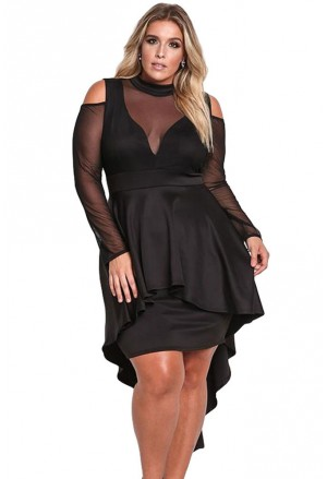 Elegant black peplum dress with mesh and crochet