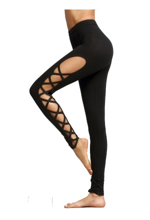 Black celebrity inspired leggings with Lace-Up front