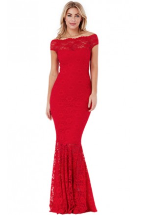 Red Bardot Lace Fishtail Maxi Dress