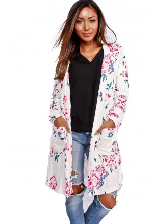 White Long Sleeve Floral Cardigan