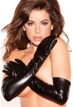 Dlhé lesklé koženkové wetlook rukavice