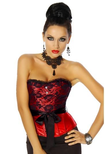 Red social satin corset with ribbon Agata
