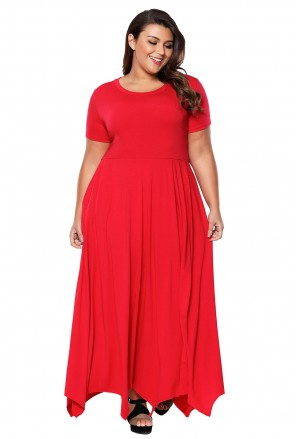 Plus Size Jersey Handkerchief Hem Dress