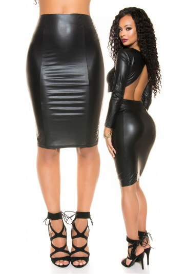 Black pencil faux leather zip skirt