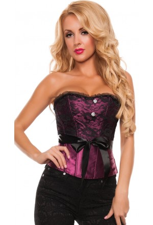 Purple social satin corset with ribbon Agata