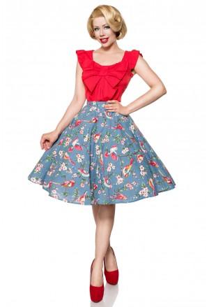 Široká retro sukňa s botanickou potlačou Belsira