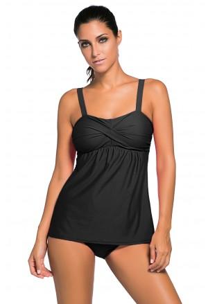 Black 2pcs Swing Tankini Swimsuit