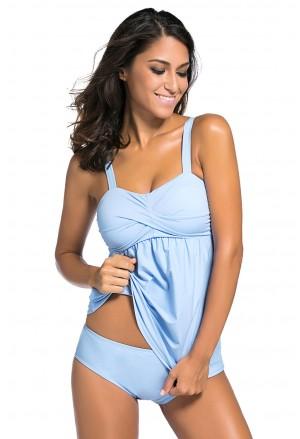 Blue 2pcs Swing Tankini Swimsuit